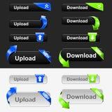 button den set uploaden för nedladdningen Royaltyfri Fotografi