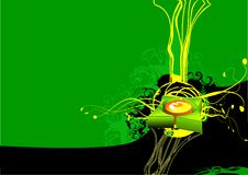 Button design on green background. Modern swirl and button design on green background with copyspace Stock Photos