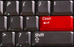 button det kontant ordet för red för datortangentbordet arkivfoto