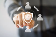 Button diagram shield security virus business Royalty Free Stock Images