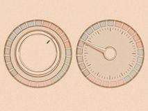 Button and dial with needle in a handrawn style on a texture  Stock Image