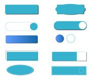Button with different styles and shapes isolated. Vector colored with blue vector illustration