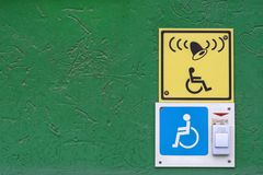 Button. For the disabled near the pharmacy Stock Photos