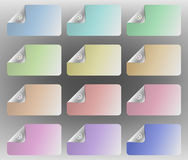 Button down business cards. Pastel multi-colored cards with one corner appearing to be buttoned down Royalty Free Stock Image