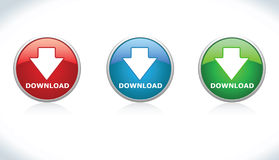 Button Download. Three Button Download Vector EPS Royalty Free Stock Images