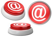 Button e-mail. 3d image of button e-mail. White background Stock Image
