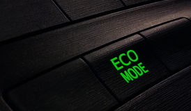 Button eco mode in car, save energy. In car Stock Images