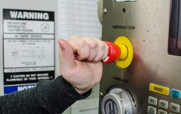 Button emergency stop. On cnc machine tool stock photo