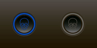 Button enable disable. Skull blue button on a black background including other switch off Royalty Free Stock Photos