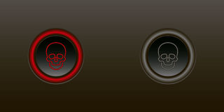 Button enable disable. Skull red button on a black background including other switch off Stock Photography