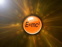 Button with energy formula on abstract background Stock Images