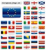 button Europa extra flaggor glansiga Royaltyfri Foto