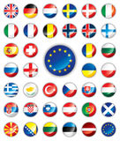 button europeiska flaggor glansiga Royaltyfria Foton