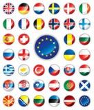 button europeiska flaggor glansiga royaltyfri illustrationer