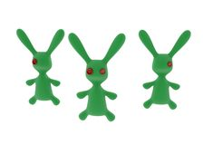 Button Eyes. 3 green stuffed 3d rabbits Stock Images