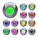 button färgrik glansig metall Arkivfoto