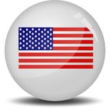 I love America. A button filled by American flag. This is an illustrated  image that can be use as a icon,button or badge Stock Photography