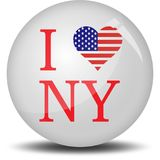 I love new york. A button filled by i love new york . This is an illustrated vector image that can be use as a icon,button or badge Royalty Free Stock Photography