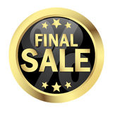 Button FINAL SALE. Round gold button FINAL SALE Stock Image