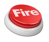 Button Fire. 3d image of button fire. White background Stock Photo