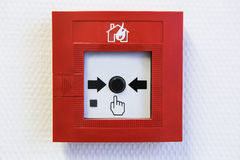 Button of the fire alarm system Royalty Free Stock Images
