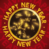 Button with Fireworks and Text Around It  for New Year, Vector Illustration Royalty Free Stock Photography