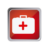 Button with first aid kit with background red. Illustration Stock Photo