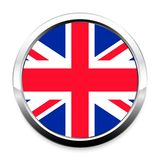 Button Flag of Great Britain in a round metal chrome frame. With a shadow. The symbol of Independence Day, a souvenir, a button for switching the language on vector illustration