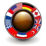 Button with flags around Stock Photography