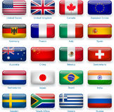 Button flags of popular countries Stock Image