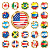 Button flags set America & Oceania. Big flag buttons set. American countries and Oceania (Australia, New Zealand). Vector illustration vector illustration