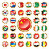 Button flags set Asia & Africa. Big flag buttons set. Asian and African countries. Vector illustration stock illustration