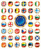 Button Flags Set European Royalty Free Stock Images