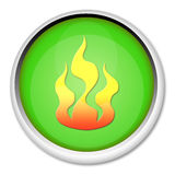 Button with flame Stock Image