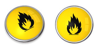 Button Flammable Symbol Royalty Free Stock Image