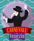Button in Flat Style with Plague Doctor for Venice Carnival, Vector Illustration Royalty Free Stock Images