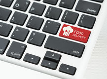 Button food delivery online with food delivery order symbol. Button food delivery online with food delivery order symbol on computer keyboard stock photo