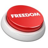 Button freedom. 3d image of button freedom. White background Royalty Free Stock Photos