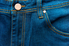 Button and front pocket of jeans Royalty Free Stock Images