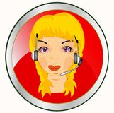 Button with girl by operator Royalty Free Stock Images