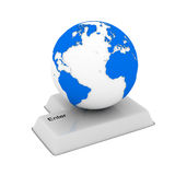 Button and globe on white background Royalty Free Stock Image