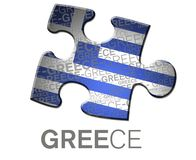 Button with the greece flag. Royalty Free Stock Photos