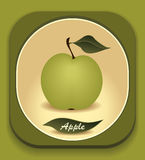 Button with  Green apple and  with leaf Royalty Free Stock Photography