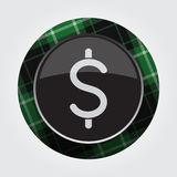 Button with green, black tartan - dollar symbol. Black isolated button with green, black and white tartan pattern on the border - light gray dollar currency Royalty Free Stock Photography