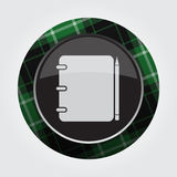 Button green, black tartan - notepad and pencil Stock Photography