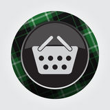 Button with green, black tartan - shopping basket Stock Images