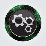 Button green, black tartan - three cogwheel icon Royalty Free Stock Photography