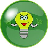 Button with green bulb Stock Photography