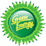 Button_green_energy_sunflower Imagem de Stock