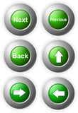 Button green glossy steel. Illustration of web buttons arrows next back steel Stock Photos